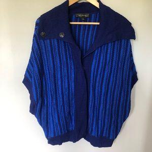 St. John Ribbed Knit Blue Cardigan Sweater